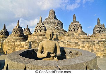 templo, salida del sol, indonesia., stupa, borobudur, java, ...