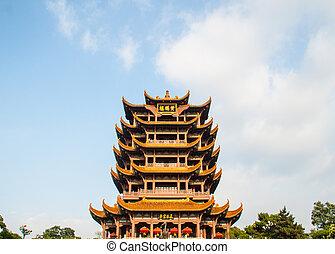templo, torre, china, grúa amarilla