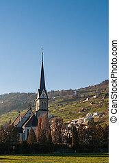 templom, alatt, a, swiss alps