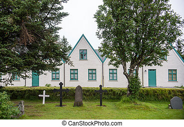 templom, alatt, thingvellir, nemzeti park, alatt, izland