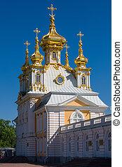 templom, -ban, nagy, peterhof, palota, szent, petersburg, oroszország