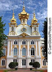 templom, közül, st. peter, és, pál, -ban, peterhof, palota