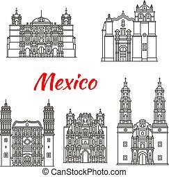 templom, katolikus, határkő, utazás, ikon, mexikói