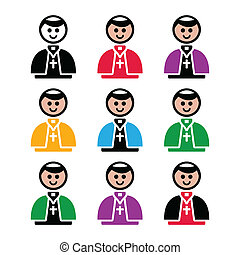 templom, katolikus, ikon, vektor, pápa