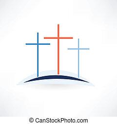 templom, keresztbe tesz, ikon