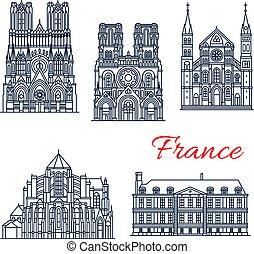 templom, római katolikus, határkő, francia, utazás