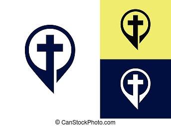 templom, symbols., kereszt, aláír, keresztény, logo., jézus