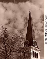 templomtorony, közül, öreg új, anglia, templom