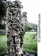 templos, en, el, copan, ruinas, honduras