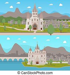 templos, horizontal, antiguo, compositions, medieval