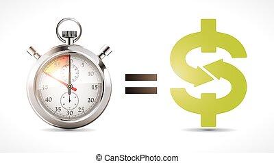 tempo é dinheiro, -, economia, conceito