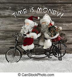 tempo é dinheiro, -, papai noel, equipe, em, pressa, para, comprando, natal