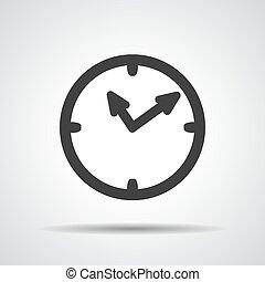 tempo, ícone, vetorial, relógio