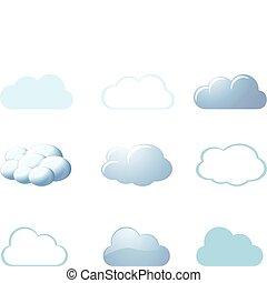 tempo, ícones, -, nuvens