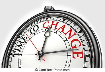 tempo, a, cambiamento, concetto, orologio