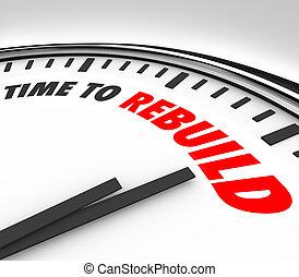 tempo, a, rebuild, orologio, inizio, nuovo, redo, revisione,...