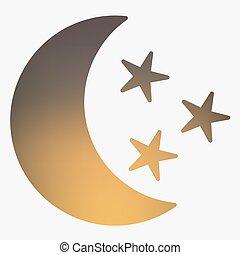tempo, appartamento, stile, icona, con, luna, e, stars.