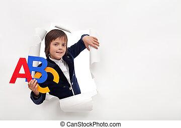 tempo, aprender, -, jovem, menino escola, com, coloridos, alfabeto, letras