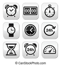 tempo, botões, vetorial, jogo, relógio