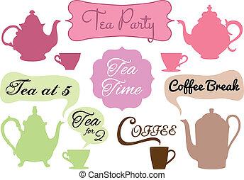tempo, café chá, vetorial, partir