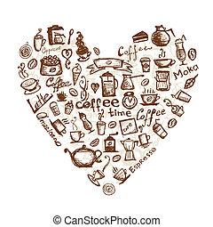 tempo café, forma coração, para, seu, desenho