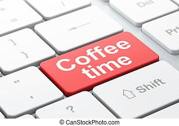 tempo caffè, computer, fondo, tastiera, concept: