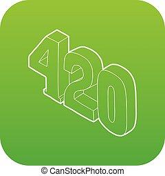 tempo, canapa, vettore, verde, fumo, 420, icona