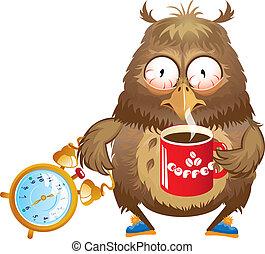 tempo, cedo, engraçado, coruja, -, manhã