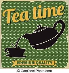 tempo chá, retro, cartaz