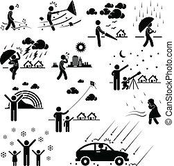 tempo, clima, atmosfera, pessoas