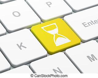 tempo, computer, fondo, tastiera, concept:, clessidra