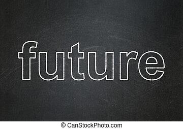 tempo, concept:, futuro, su, lavagna, fondo