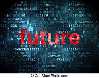 tempo, concept:, futuro, su, sfondo digitale