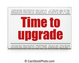 tempo, concept:, manchete jornal, tempo, para, actualização