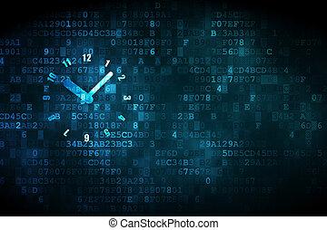 tempo, concept:, orologio, su, sfondo digitale