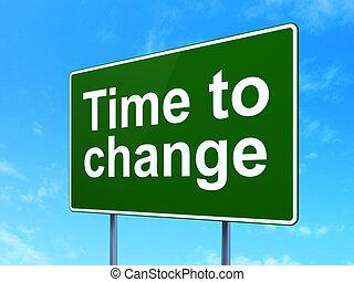 tempo, concept:, tempo, a, cambiamento, su, segno strada, fondo