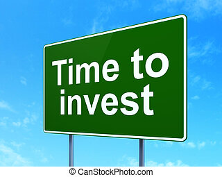 tempo, concept:, tempo, investire, su, segno strada, fondo