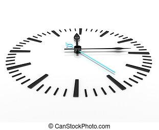 tempo, concetto, orologio, closeup, 3d