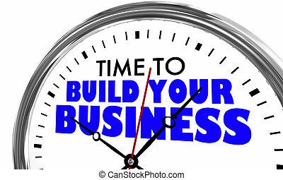 tempo, construir, seu, negócio, relógio, palavras, 3d, ilustração