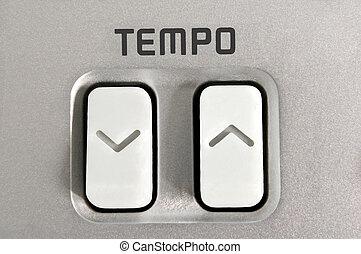 Tempo control. - Close up of tempo control arrow buttons ...