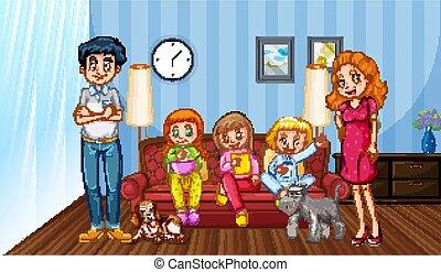 tempo, detenere, scena famiglia, buono, casa