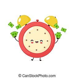 tempo, dinheiro, feliz, relógio, cute, sorrindo, alarme