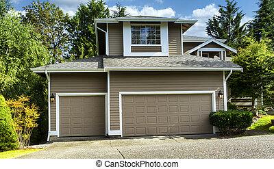 tempo, durante, exterior, lar, pintado, residencial, freshly, verão