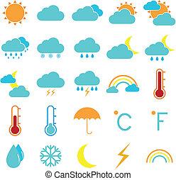 tempo, e, clima, colorare, icone, bianco, fondo