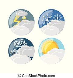 tempo, e, clima, icona, progetto serie