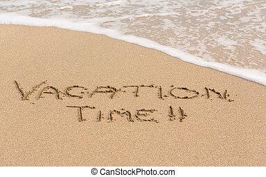tempo férias, escrito, em, areia, com, mar, surfar