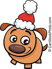 tempo, filhote cachorro, caricatura, natal