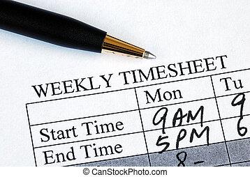 tempo, foglio, entrare, settimanale