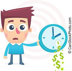 tempo, gastado, dinheiro