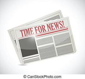tempo, giornale, news., illustrazione, disegno